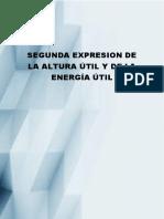 Segunda Expresión de La Altura Útil y de La Energía Útil