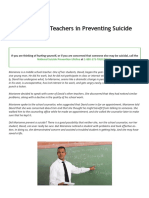 PDF the Role of Teachers in Preventing Suicide