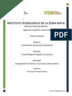 Investigacion Unidad 2 -La empresa y el proceso administrativo