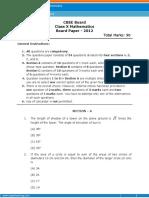 Class 10 Mathematics 2012