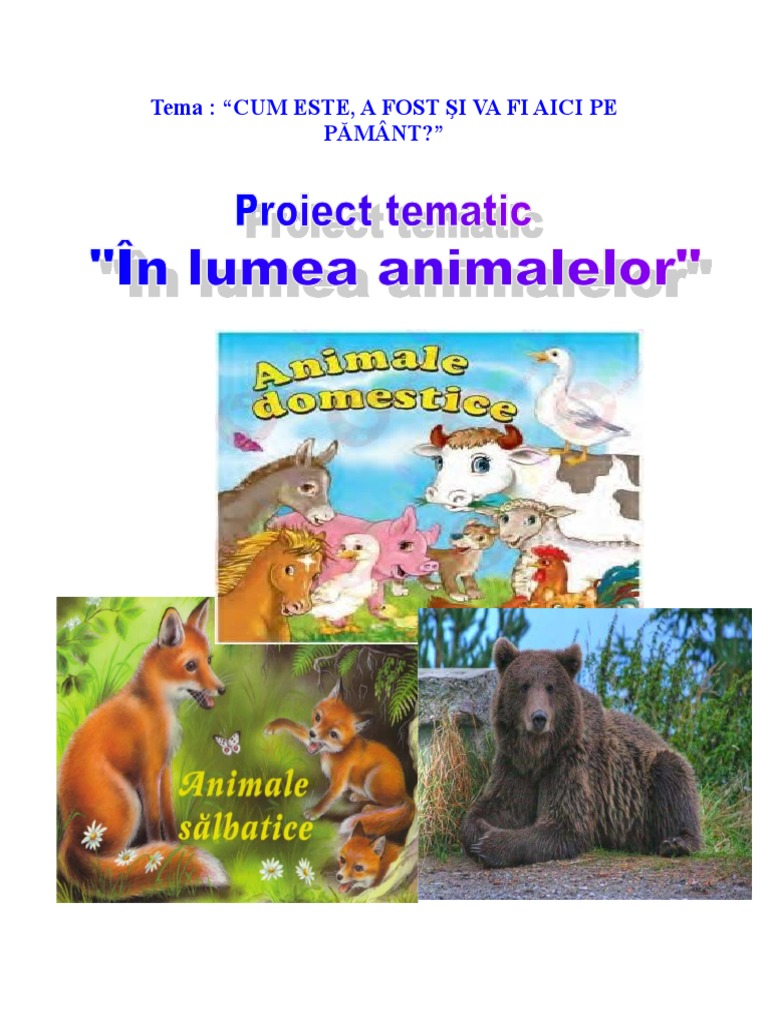 Proiecttematic In Lumea Animalelor