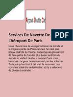 Savoir Sur Les Services de Navette Aéroport à Paris
