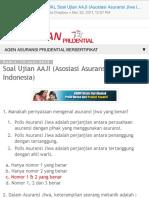 Soal Ujian PRUDENTIAL Soal Ujian AAJI (Asosiasi Asuransi Jiwa Indonesia)