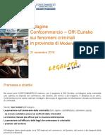 Indagine Confcommercio Fenomeni Criminali 2018 Modena