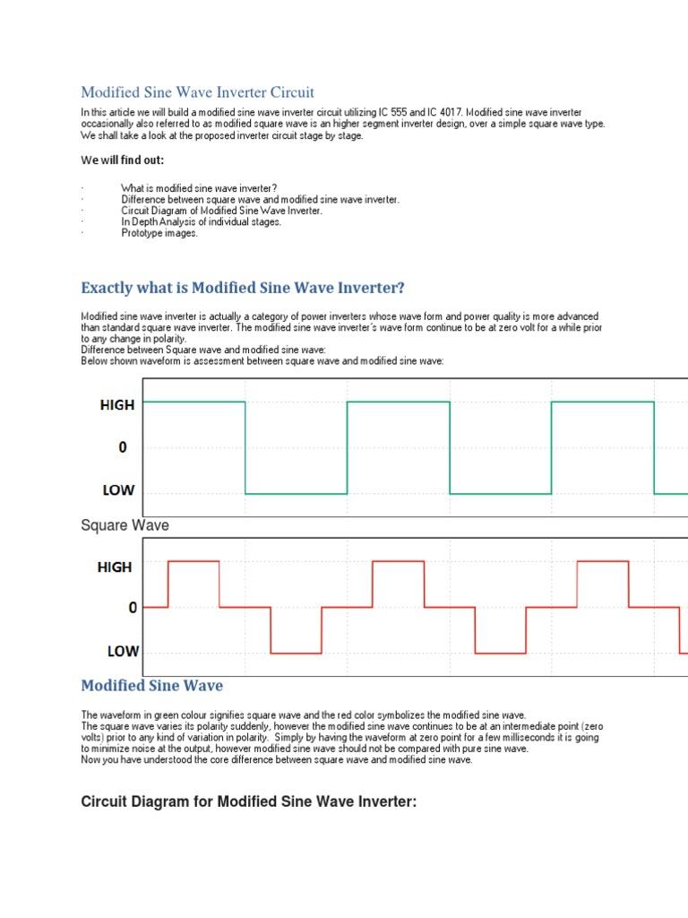 Simple Modified Sine Wave Inverter Circuit | Power Inverter | Waves