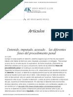 Detenido, Imputado, Acusado… Las Diferentes Fases Del Procedimiento Penal