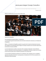 20/Noviembre/2018 Aprueban convocatoria para integrar consejo consultivo de la CNDH