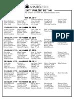 November 24, 2018 Yahrzeit List
