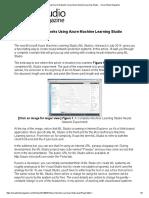 Creating Neural Networks Using Azure Machine Learning Studio -- Visual Studio Magazine