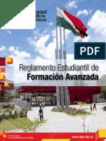 Reglamento Estudiantil de Formación Avanzada 2014 Universidad Pontificai