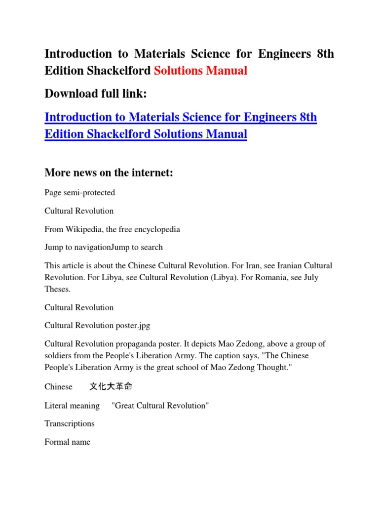 Introduction to Materials Science for Engineers 8th Edition Shackelford Solutions  Manual | Cultural Revolution | Mao Zedong