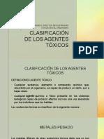 Clasificación de Los Agentes Tóxicos