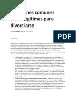 10 Razones Comunes Pero Ilegítimas Para Divorciarse