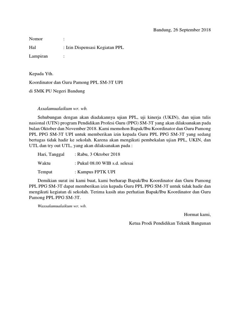 Surat Disepensasi Ppl