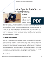 Amendment to the Specific Relief Act in 2018_ Whether Retrospective