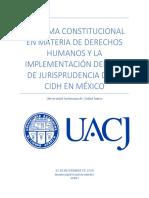 Reforma Constitucional en Materia de Derechos Humanos y La Implementación Del Uso de Jurisprudencia de La CIDH en México