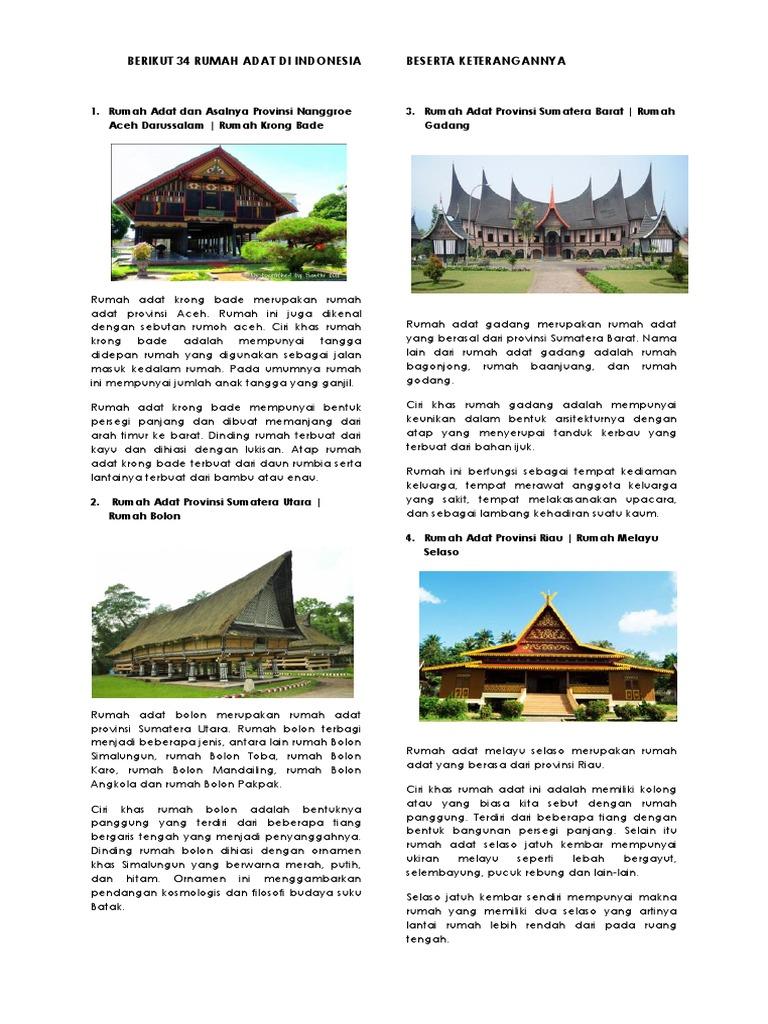 Berikut 34 Rumah Adat Di Indonesia Dan Penjelasannya