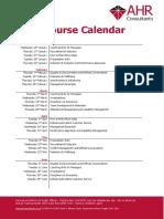 2019 Calendar of Courses