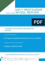 Respaldar y Restaurar Bd en Mysql Server