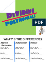 Dividing Polynomials, Long Division, Synthetic Division 2017-2018 (2)