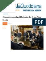 Argentina, Chiesa Senza Soldi Pubblici. Codardia Di Una Falsa Libertà