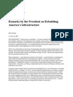 Remarks by President Barack Obama on Rebuilding Americas Infrastructure
