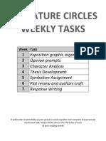 literature circles weekly tasks