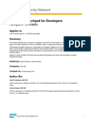 SAP Fiori Launchpad for Developers - Navigation Concepts pdf
