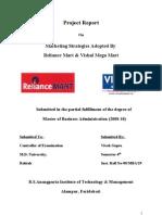33103337 Marketing Strategies Adopted by Reliance Mart Vishal Mega Mart