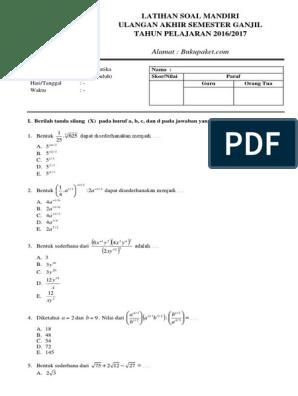 Latihan Soal Uas Matematika Kelas 10 Semester 1 Pdf