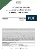 Perfil morfológico y velocidad en atletas de futsal con relación a la posición en el juego