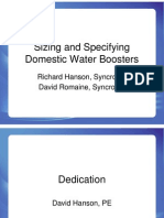 SyncroFlo - Sizing Booster Pumps - Latest Tricks and Trends - 2009 ASPE Technical Symposium