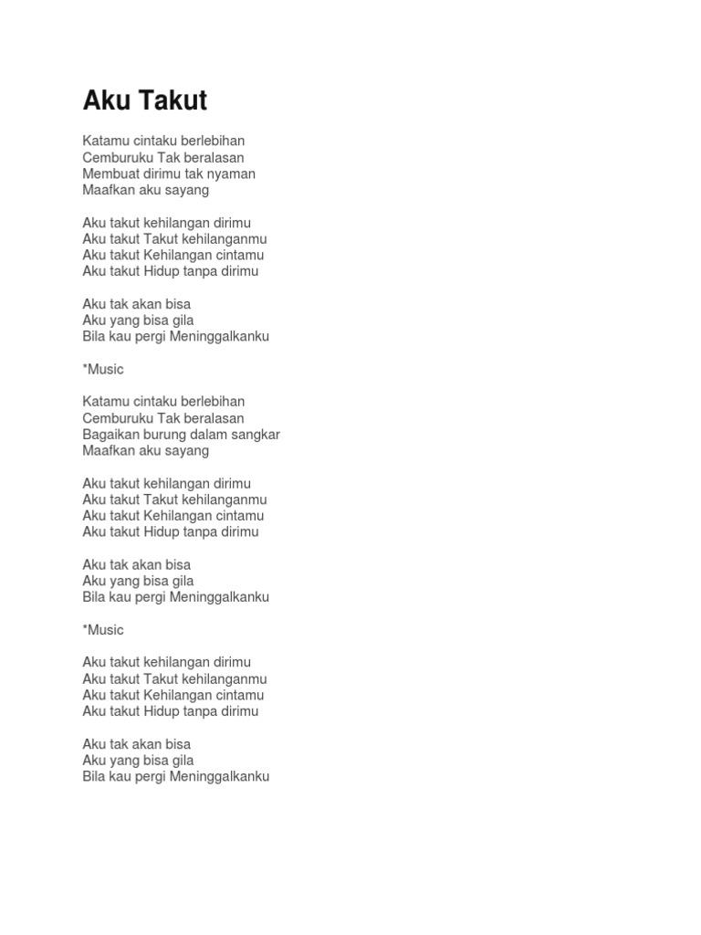 Lirik Lagu Takut Kehilangan