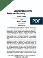 Benefit Segmentation in Restuarant Industry
