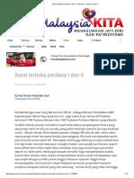 Surat Terbuka Perdana I Dan II - Rencana - Utusan Online