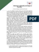 WPA Position Statement Spirituality Psy-15!02!23
