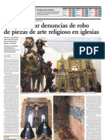 Piden Agilizar Denuncias de Robo de Piezas de Arte Religioso en Iglesias