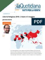 Libertà Religiosa 2018 L'Islam e Il Maggior Persecutore