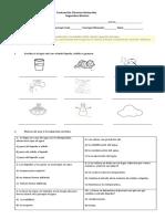 Evaluación Ciencias Naturales estado y ciclo del agua