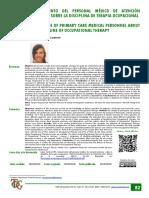 Conocimiento del personal médico de atención primaria sobre la disciplina de terapia ocupacional..pdf