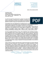 Carta de Transparencia International al presidente de Uruguay Tabaré Vázquez