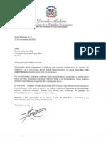Carta de condolencias del presidente Danilo Medina a Arturo Pellerano Peña por fallecimiento de su madre, Pilar Peña viuda Pellerano