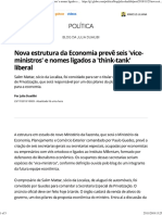 Nova Estrutura Da Economia Prevê Seis 'Vice-ministros'