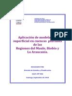Aplicación de modelación superficial en cuencas pluviales de las Regiones del Maule, Biobío y La Araucanía.