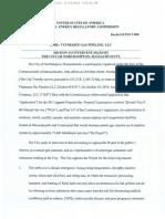 Northampton motion to intervene in FERC docket for TGP 261 Upgrade in Agawam