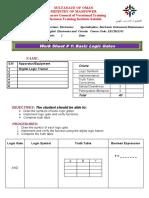 Work Sheet 1 Basic Logic Gates