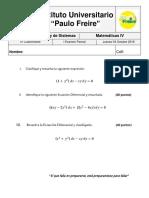 I Examen Parcial Matemáticas IV UNIFreire