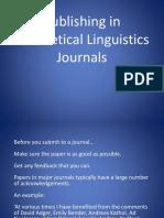Publishing in Theoretical Linguisitics