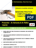Managing Practical Completion and Things to Consider