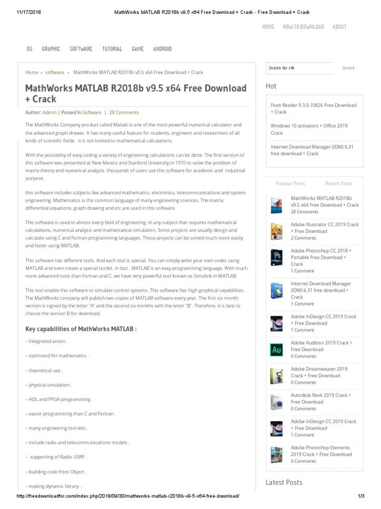 MathWorks MATLAB R2018b v9 5 x64 Free Download + Crack
